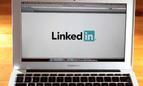 LinkedIn logo displayed on laptop screen