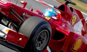 Fernando Alonson of Ferrari tests new car 2012