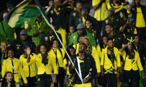 Jamaica's flagbearer Usain Bolt