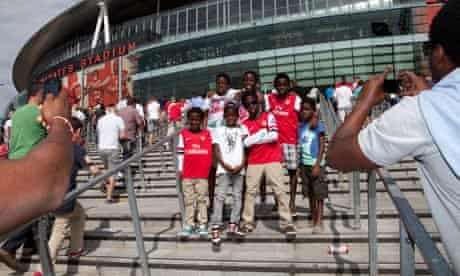 Arsenal fans outside the Emirates stadium for the first game of the 2012/13 season