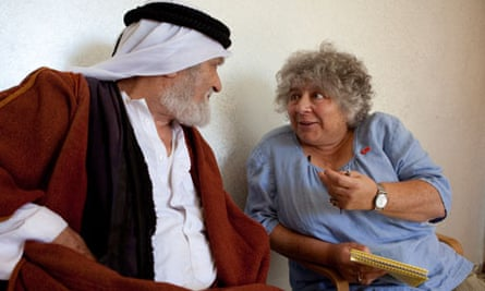 Miriam Margolyes with Action Aid beneficiary, Al Alroub refugee camp