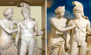 """Marble statue of """"Venus and Mars"""" before and after restoration, inside Chigi Palace in Rome"""