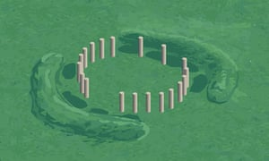 An artist's impression of a structure discovered at Stonehenge, Wiltshire