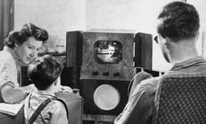 1955: A family watching television at home