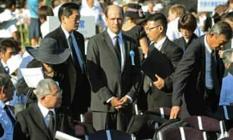 US Ambassador John Roos at the Peace Memorial Park in Hiroshima, Japan