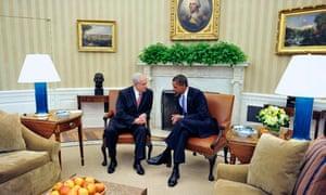 US President Barack Obama meets Israeli Prime Minister Benjamin Netanyahu in the Oval Office