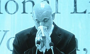 Afghan President Hamid Karzai cries at a ceremony at Amani High School in Kabul