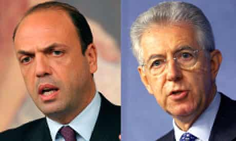 Angelino Alfano and Mario Monti