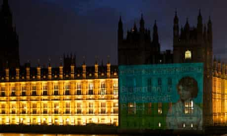Mary Wollstonecraft projected onto the side of the Houses of Parliament