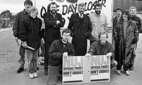 Michael Gove on the picket line during the year long strike at Aberdeen Journals in 1989