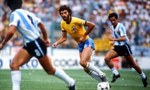 Socrates plays for Brazil against Argentina in the 1982 World Cup