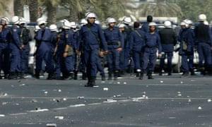 Bahraini riot police in Manama