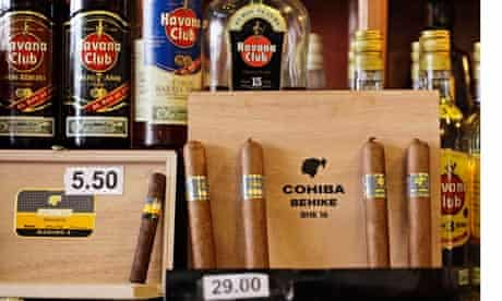 """Cuban Cohiba """"Behike"""" cigars are displayed for sale in a Havana bar"""