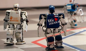 the world's first full marathon for robots in Osaka,  Japan