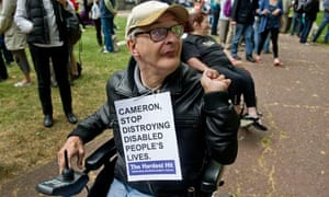 A wheelchair user on The Hardest Hit protest march in London