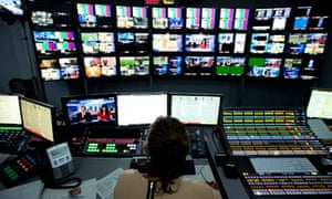 A production suite at the new Sky television HQ building in Isleworth, London