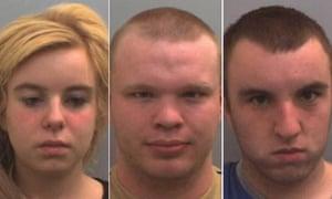 Chantelle Booth, Daniel Newstead and Joe Boyer who were today sentenced for murder Gemma Hayter