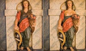 The statue of Abundance, holding her cornucopia at St James Priory, Bristol.