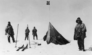 Members of Captain Scott's party discover the tent of Roald Amundsen in 1912