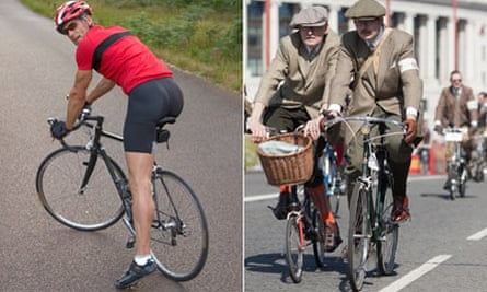Cyclists wearing lycra and tweed