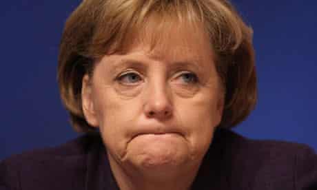 Angela Merkel frowning