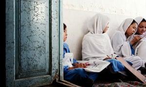 Hazara girls at a charitable school Roshni, Pakistan