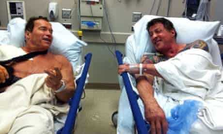 Schwarzenegger and Sylvester Stallone meeting in hospital while awaiting shoulder operations
