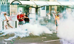 England football fans clash with police in Marseille during the 1998 World Cup