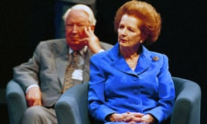 Margaret Thatcher and Ted Heath at the Conservative Party Conference in 1998