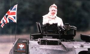 British Prime Minister Margaret Thatcher rides a tank in 1986