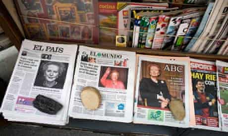 Spanish newspapers carry news of the death of Margaret Thatcher on their front pages