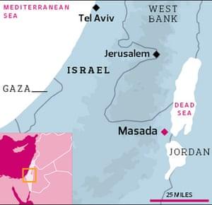 Map showing Masada close to Israel's border with Jordon
