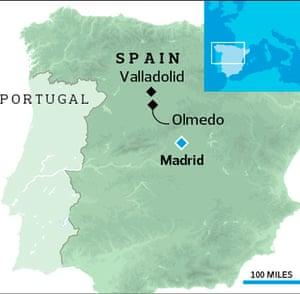 Map showing Olmedo in Spain