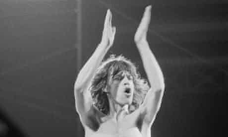 Mick Jagger performs on stage with the Rolling Stones during their first Parisian concert