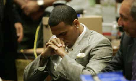 Chris Brown during his hearing at the Los Angeles Courthouse