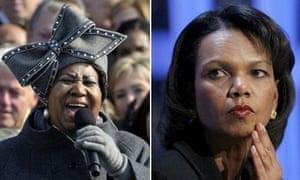 Aretha Franklin and Condoleezza Rice
