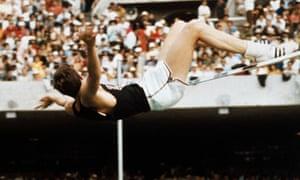 Richard Fosbury Jumping High Bar for Olympic Record