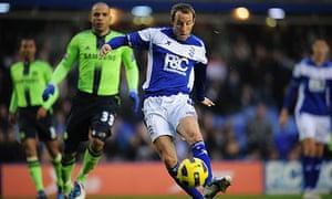 Birmingham's Lee Bowyer scores the winning goal against Chelsea