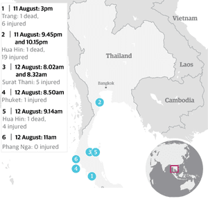 A timeline of the blasts in Thailand