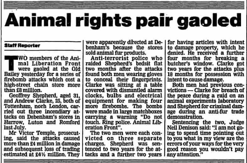 How the Guardian reported the trial of Geoff Sheppard and Andrew Clarke in June 1988.
