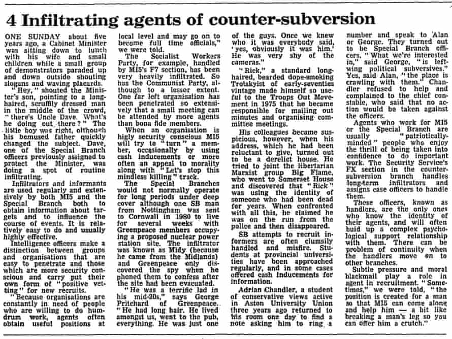 The Guardian article from 18 April 1984 reporting the confrontation with Gibson