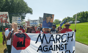 Marchers leave Reserve, Louisiana. 'We are demanding not only the saving of our children at this school, we are demanding the salvation of this entire area.'