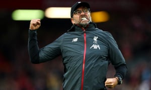 Liverpool managr Jürgen Klopp celebrates at full time after his team beat Leicester City at Anfield.