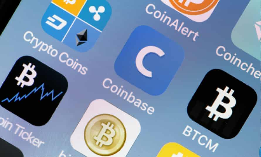 Cryptocurrency apps on a phone