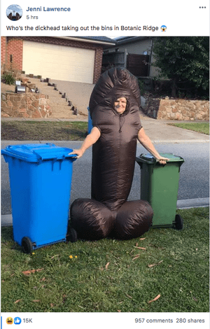 Jenni Lawrence in an inflatable penis costume