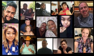 Collage of US healthcare employees who died from Covid-19
